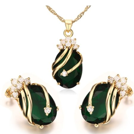 Noble Green Faux Crystal Womens Earrings Necklace Set