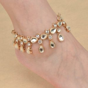Trendy Golden Color Rhinestone Jewelry Anklet