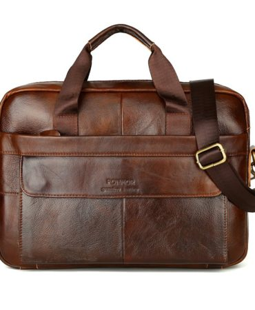 Brown Casual Leather Mens Briefcase
