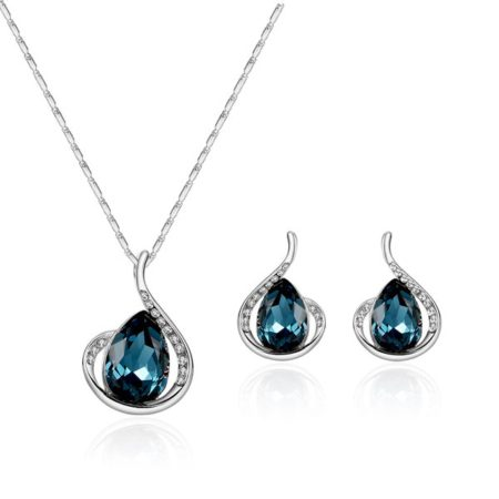 Faux Sapphire Rhinestone Necklace Earring Womens Jewelry Set