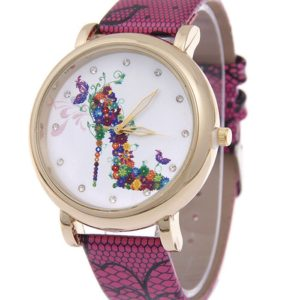 PU Leather Rhinestone Quartz Floral Watch for Ladie