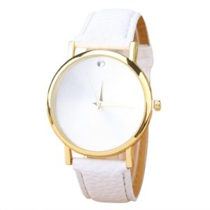 White Fashion Pu Leather Womens Watch