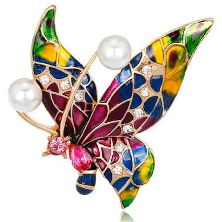 Trendy Animal Butterfly Faux Pearl Brooch