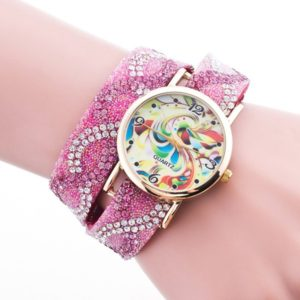Pink Quartz Floral Rhinestone Ladies Bracelet Watch