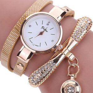 Quartz Rhinestone PU Leather Womens Bracelet