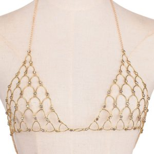 Trendy Golden Color Rhinestoned Bra Body Jewelry for Women