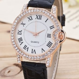 Pu Leather Roman Numerals Womens Watch