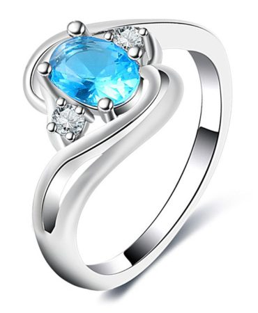 Rhinestone Faux Aquamarine Ladies Ring