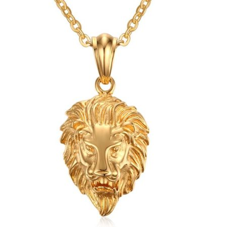 Golden Color Animal Lion Mens Necklace