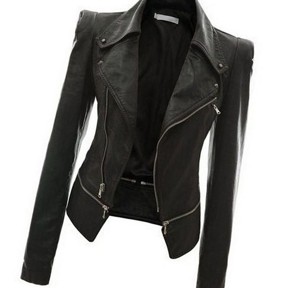 Faux Leather Womens Moto Jacket