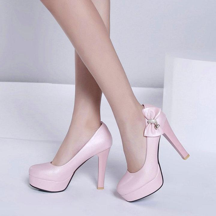 Elegant High Heel Bow Cute Platform