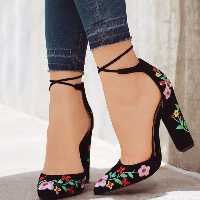 Fashion Square High Heels Pointed Toe