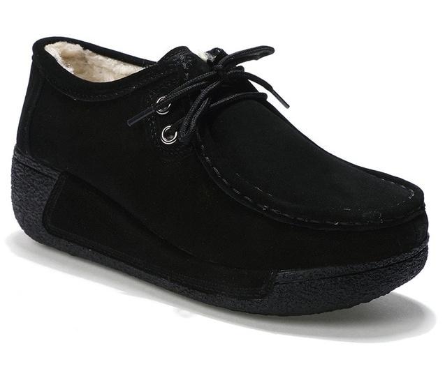 23e5f9eda4d Winter Suede Leather Flats Platform Shoes