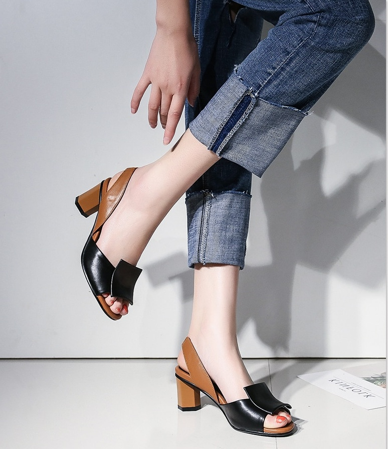 e531e7824 Fashion Casual Slip-On Thick Heels Sandals for Ladie