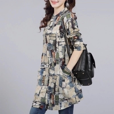 47650bff0 Casual Cotton Printed Long Tops Womens Shirts