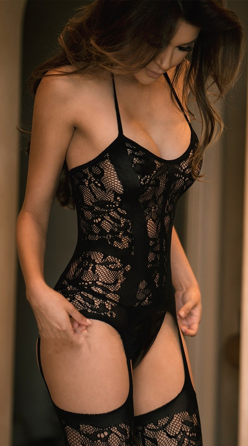 Black Lace Lingerie Women Hot Erotic Babydolls-8854