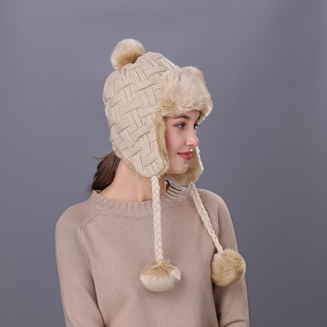 92496e778fb2a1 Fashion Winter Womens Knit Trapper Hat