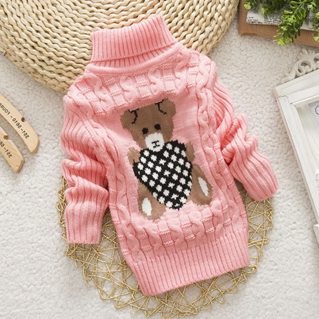 Winter Knitted Turtleneck Boys Girls Sweaters Pullovers for Kids