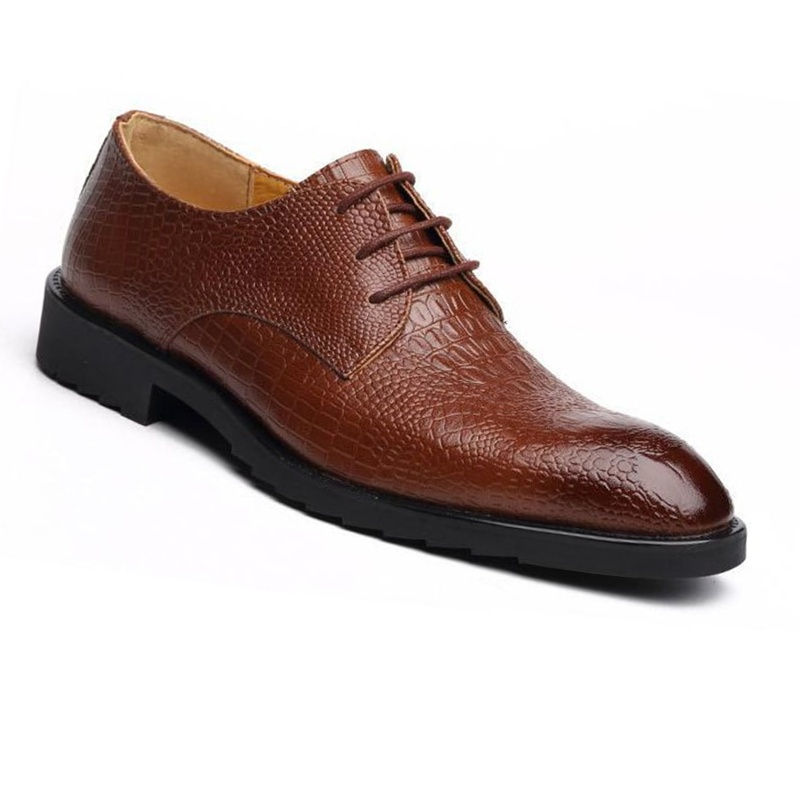 Mens Wedding Shoes.Black Brown Pointed Toe Luxury Genuine Leather Lace Up Men Wedding Shoes