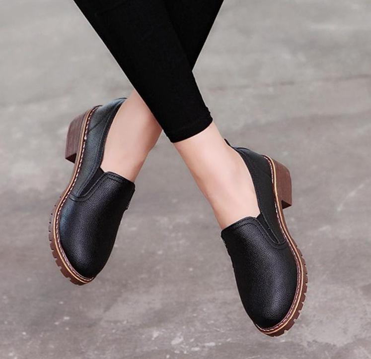Leather Elegant Oxford Women Flat Shoes