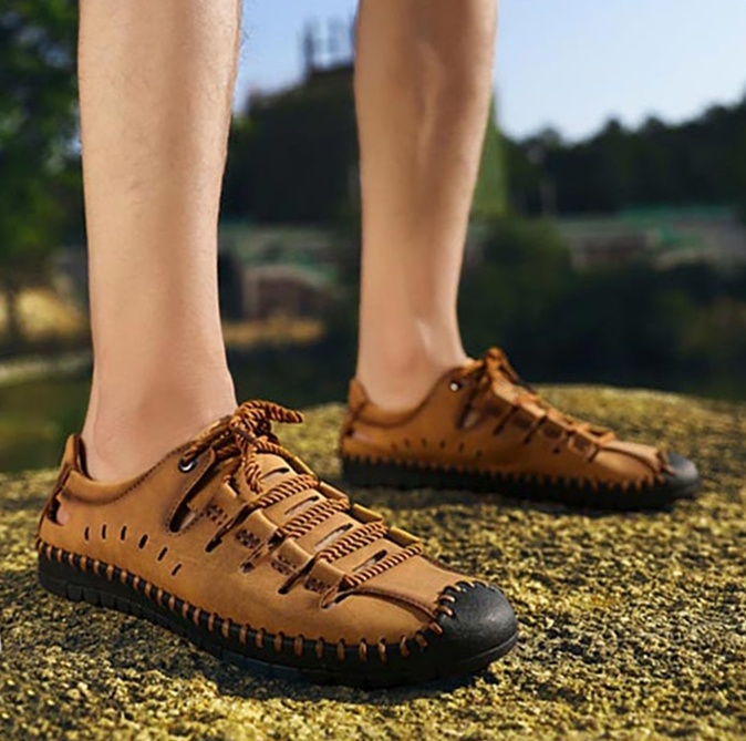 Summer Breathable Lace-Up Leather