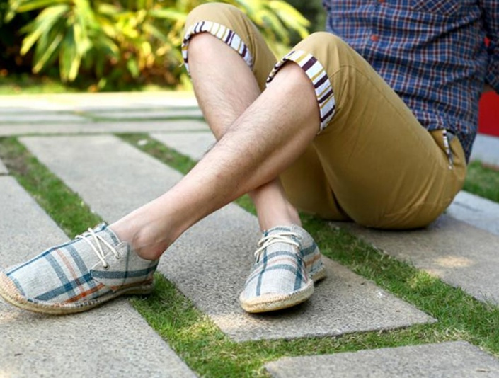 Mens Breathable Plaid Flat Lace Up Espadrilles Canvas Sneakers