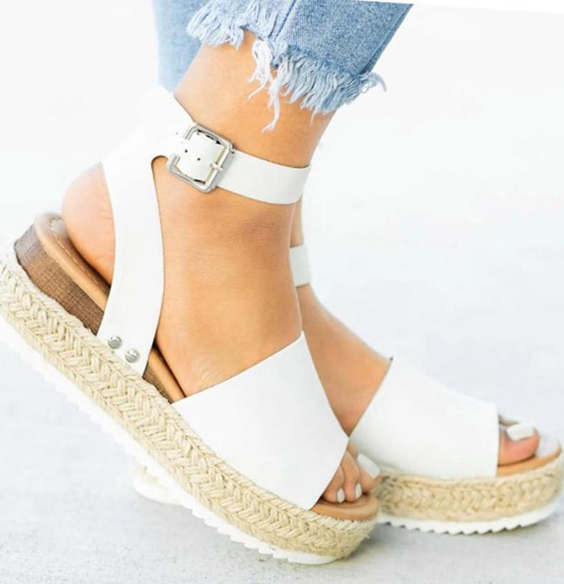 Hot Pink Faux Suede Women Sandals Wedges Heel Platform