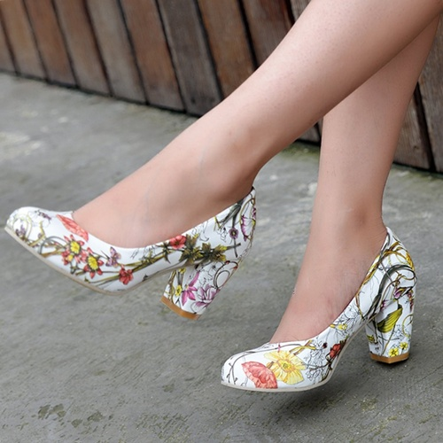 Casual Round Toe Square Chunky High