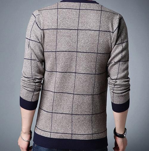 Casual Cotton Autumn Winter Striped Slim O Neck Men's Sweater